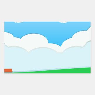 City scene at daytime rectangular sticker