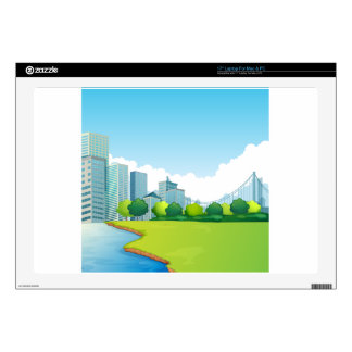 """City scene decal for 17"""" laptop"""