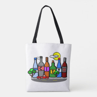 City Scene with Bottles and Red Pickup Truck Tote Bag