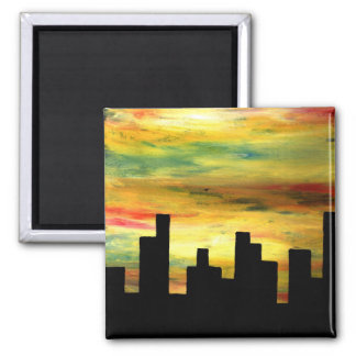 city silhouette 2 inch square magnet