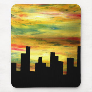 city silhouette mouse pad