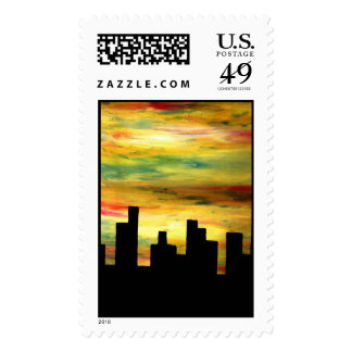 city silhouette postage
