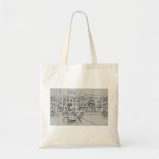 City Sketch while Shopping on Tote Bag