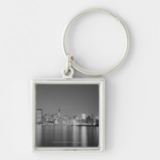 City skyline at night keychain