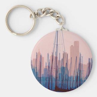 City Skyline Basic Round Button Keychain
