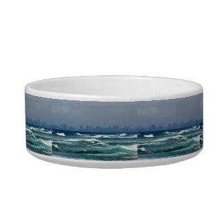 City Skyline behind the waves of the ocean Cat Water Bowls