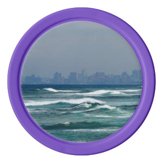 City Skyline behind the waves of the ocean Poker Chip Set