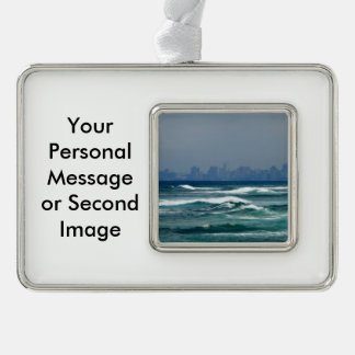 City Skyline behind the waves of the ocean Silver Plated Framed Ornament