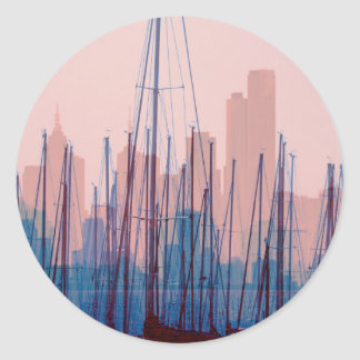 City Skyline Classic Round Sticker
