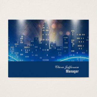 City skyline cool neon urban office business card