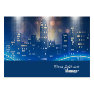 City skyline cool neon urban office large business cards (Pack of 100)