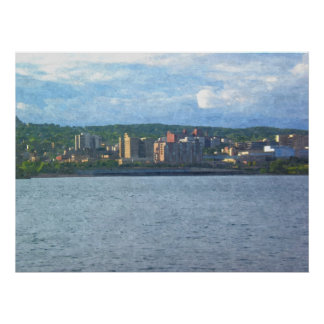 City Skyline from the lake-Painting Print