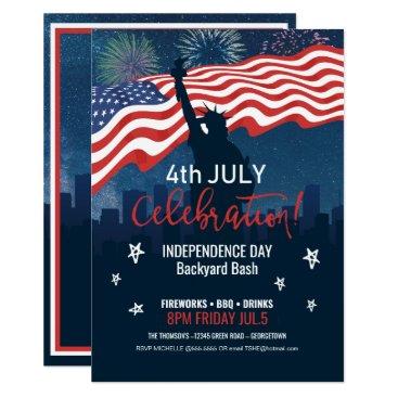 City Skyline Independence Day Celebration ID658 Invitation