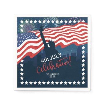 City Skyline Independence Day Celebration ID658 Napkin