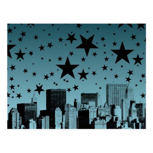 City Skyline Night Postcard