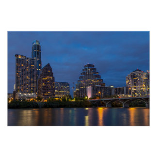 City Skyline Reflects Into Lady Bird Lake Poster