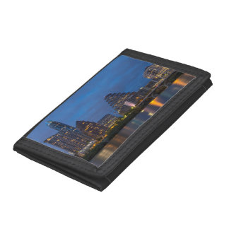 City Skyline Reflects Into Lady Bird Lake Tri-fold Wallets