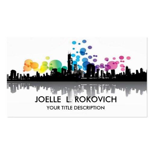 City Skyline Silhouette Rainbow Bubbles Business Card Template