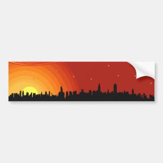 City Skyline Sunset Bumper Sticker