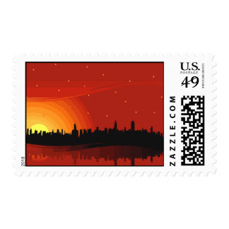 City Skyline Sunset Postage