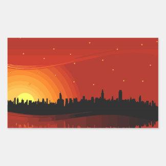 City Skyline Sunset Rectangular Sticker