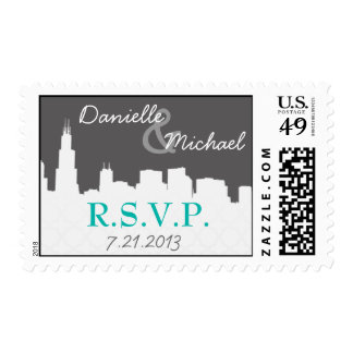 City Skyline Urban Save the Date Wedding Postage