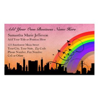 City Skyline with Rainbow and Birds Flying Business Card Template