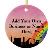 City Skyline with Rainbow and Birds Flying Ceramic Ornament