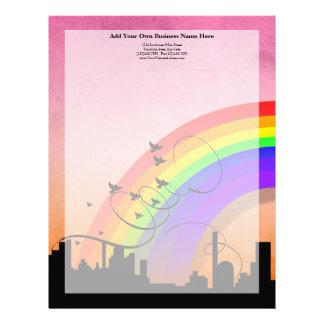 City Skyline with Rainbow and Birds Flying Letterhead Design