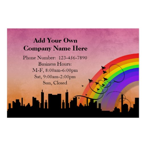 City Skyline with Rainbow and Birds Flying Poster