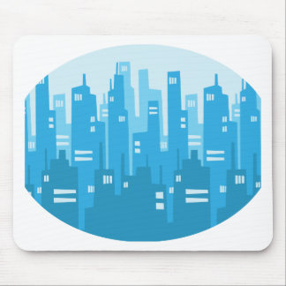 City Skyscraper Silhouette Background - Blue Mouse Pad