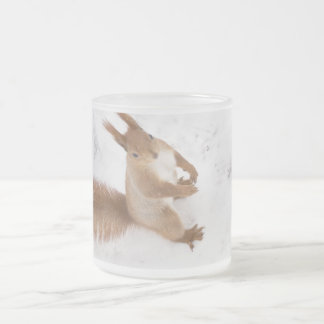 City Squirrel Frosted Glass Coffee Mug