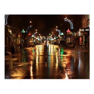 City street at  night postcard