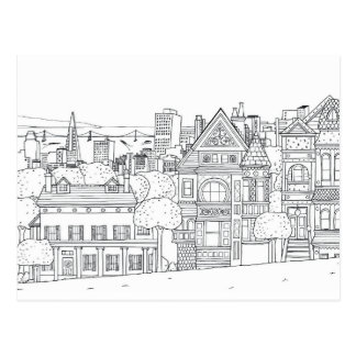 city street coloring postcard gift