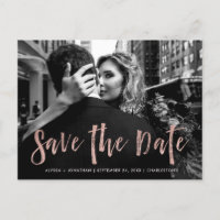 City Style | Rose Gold and Photo Save the Date Invitation Postcard