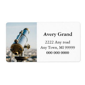 City Telescope Photograph, View Over Paris Label