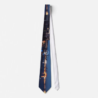 City Themed, A Picture Od A Downtown Of A City Cap Neck Tie