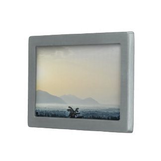 City Themed, Hazy View Of Rooftops With A Tall Tre Rectangular Belt Buckle