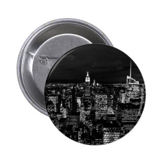 City Themed, Skyscrapers Lit At Night In Black And 2 Inch Round Button