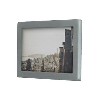 City Themed, View From Top Of A Street That Stretc Rectangular Belt Buckle