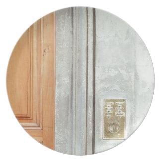 City town background door melamine plate