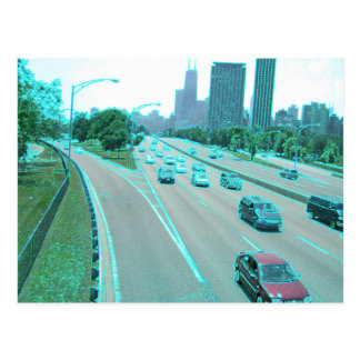 City Traffic in Colored Foil Postcards