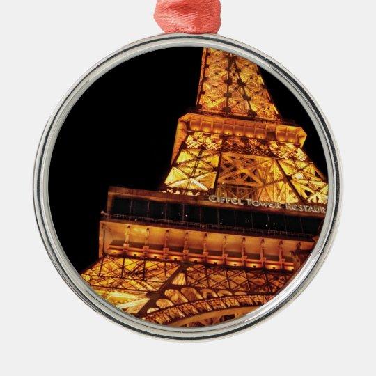 City - Vegas - Paris - Eiffel Tower Restaurant Metal Ornament