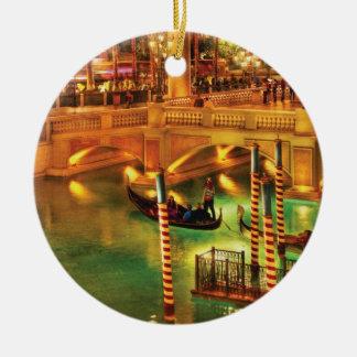 City - Vegas - The Venetian at night Ceramic Ornament