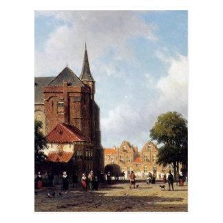 City view by Johan Hendrik Weissenbruch Postcard