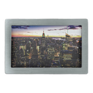 City View Night Rectangular Belt Buckle