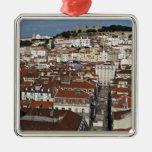 City view of Lisbon Square Metal Christmas Ornament
