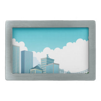 City view rectangular belt buckle