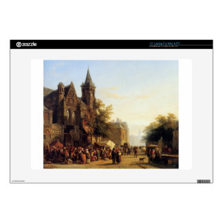 City view with figures by Cornelis Springer Laptop Skins