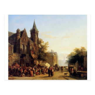 City view with figures by Cornelis Springer Postcard